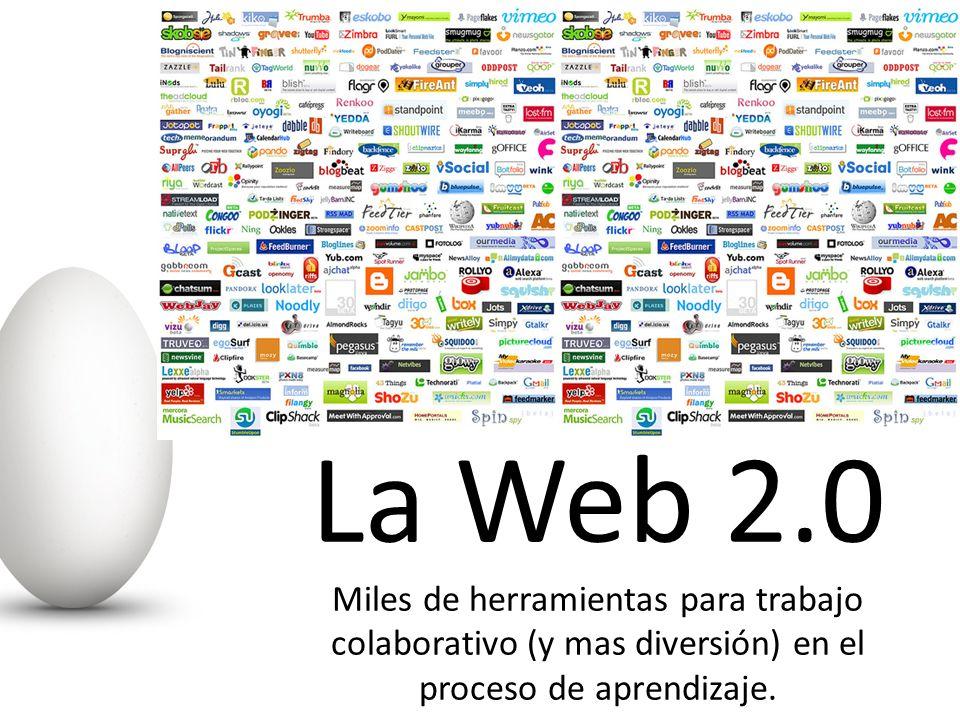 La Web 2.0 Miles de herramientas para trabajo colaborativo (y mas diversión) en el proceso de aprendizaje.
