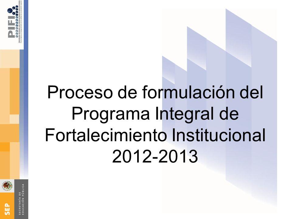 Proceso de formulación del Programa Integral de Fortalecimiento Institucional 2012-2013