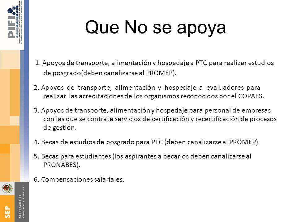 Que No se apoya 1. Apoyos de transporte, alimentación y hospedaje a PTC para realizar estudios de posgrado(deben canalizarse al PROMEP).