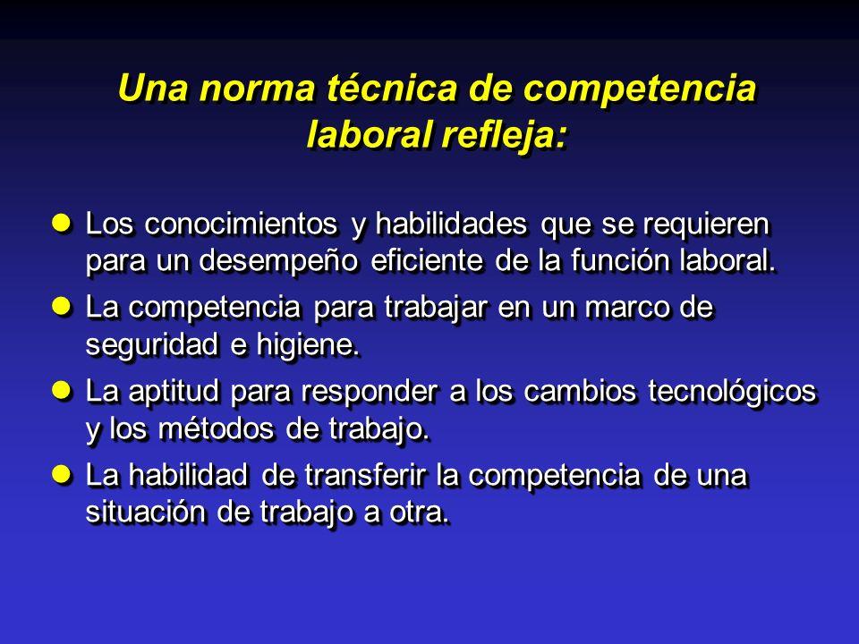 Una norma técnica de competencia laboral refleja: