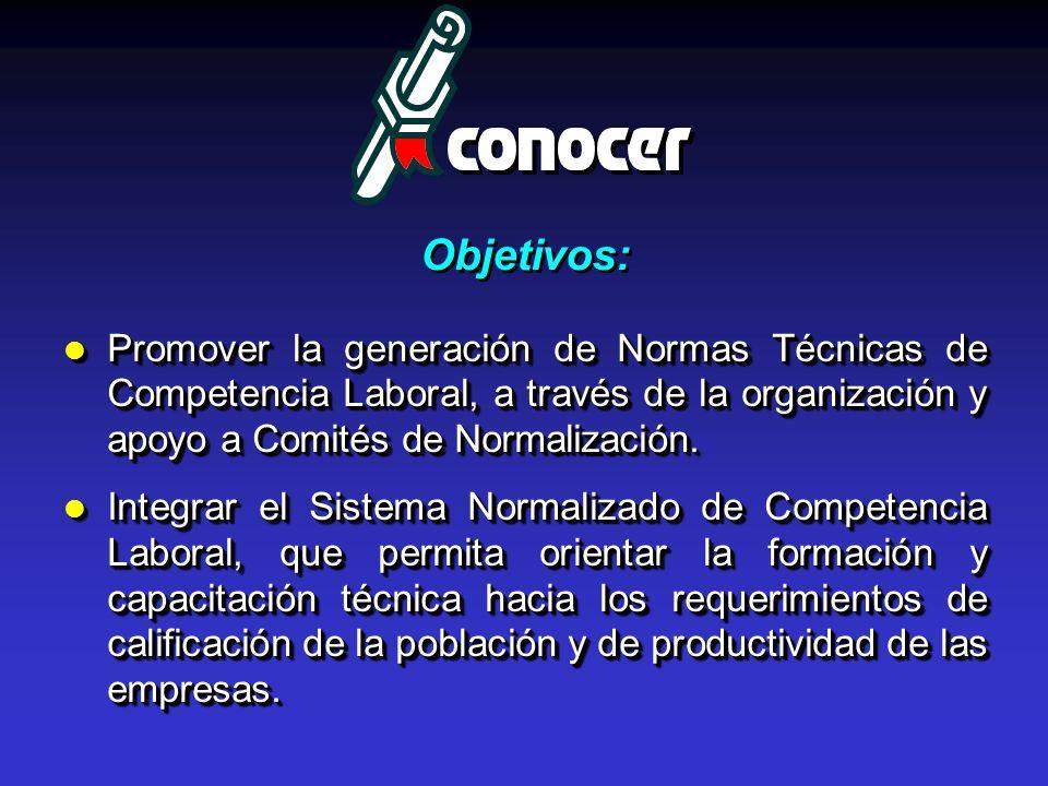 Objetivos: Promover la generación de Normas Técnicas de Competencia Laboral, a través de la organización y apoyo a Comités de Normalización.