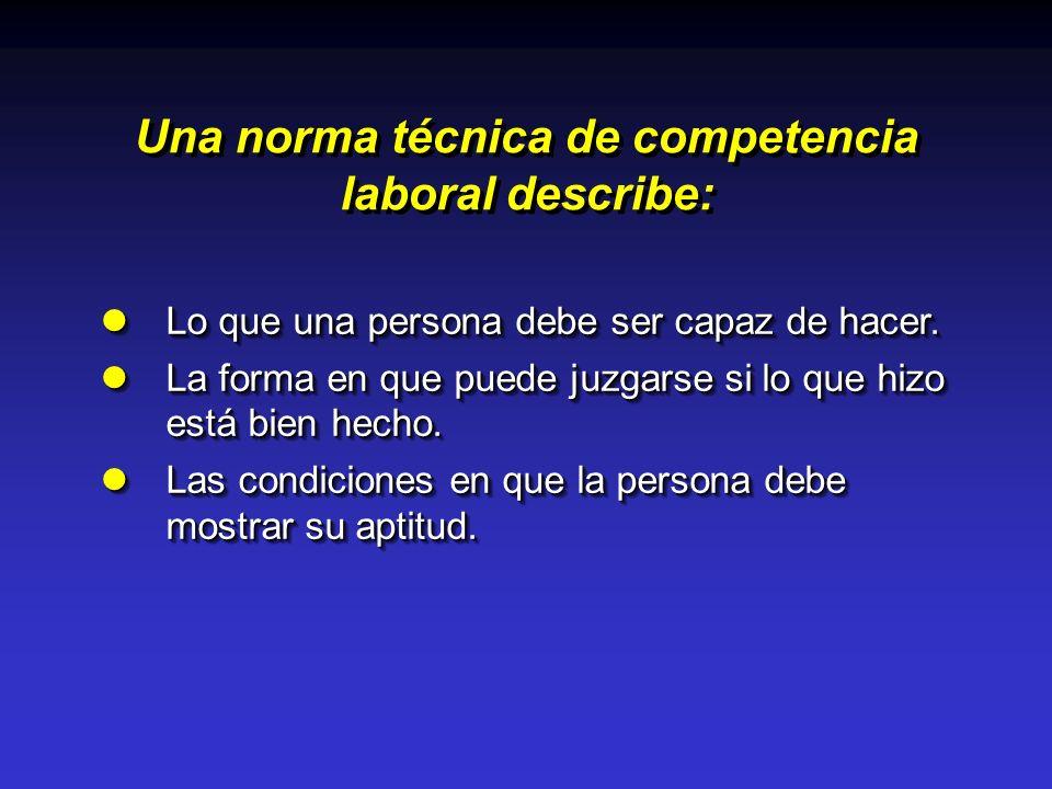 Una norma técnica de competencia laboral describe: