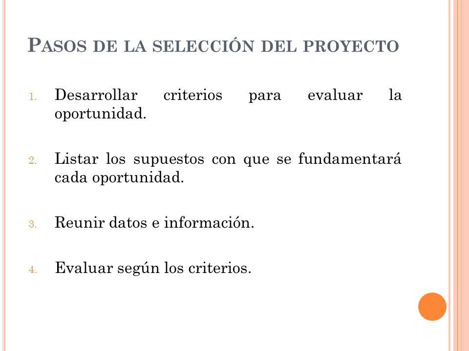 Pasos de la selección del proyecto