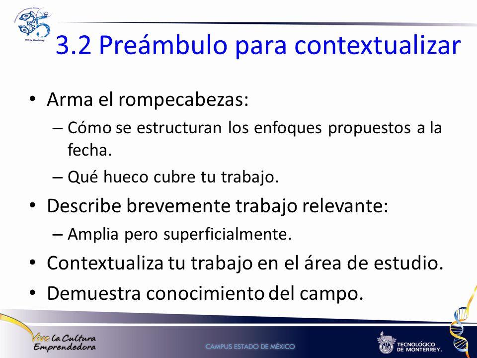 3.2 Preámbulo para contextualizar