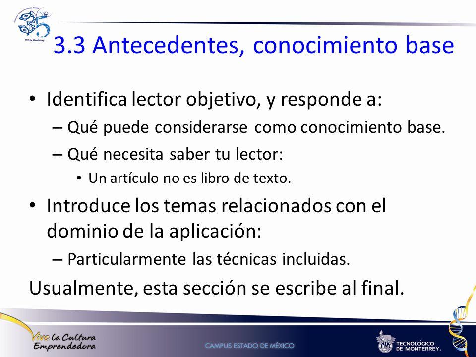 3.3 Antecedentes, conocimiento base