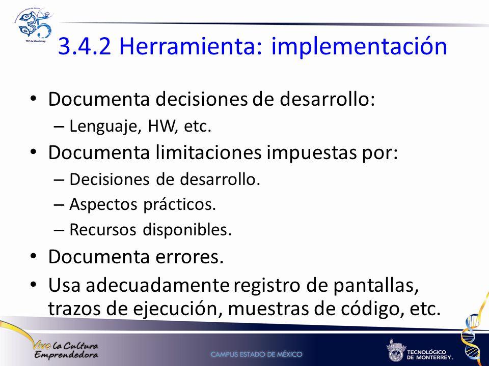 3.4.2 Herramienta: implementación