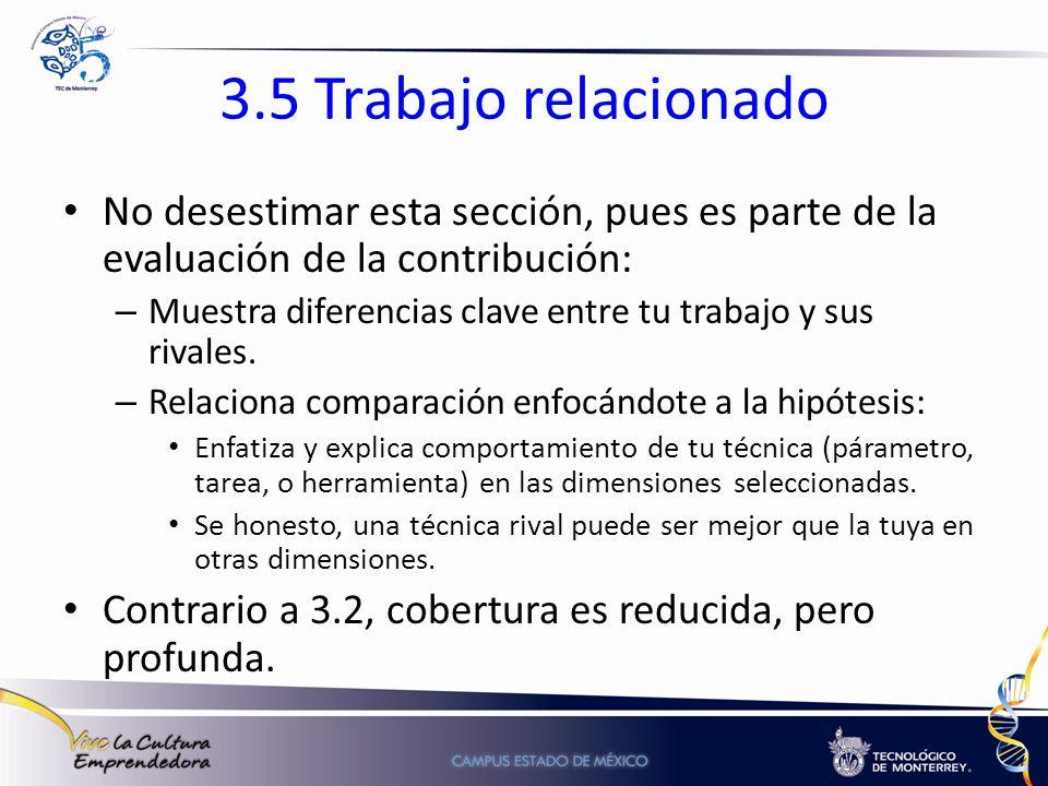 3.5 Trabajo relacionado No desestimar esta sección, pues es parte de la evaluación de la contribución: