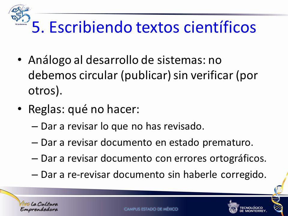 5. Escribiendo textos científicos