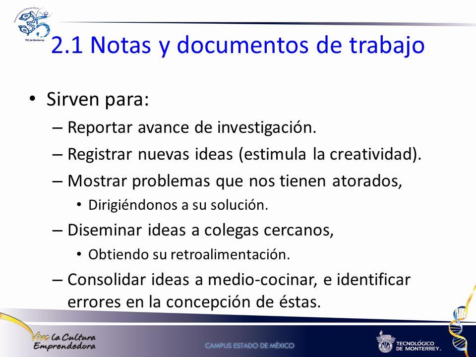 2.1 Notas y documentos de trabajo