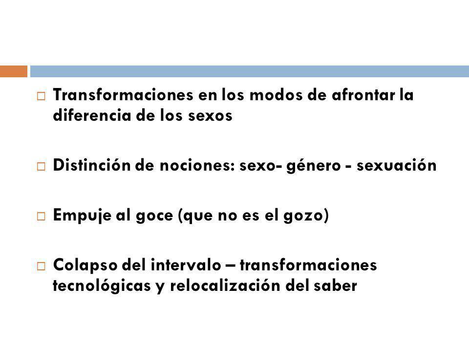 Transformaciones en los modos de afrontar la diferencia de los sexos