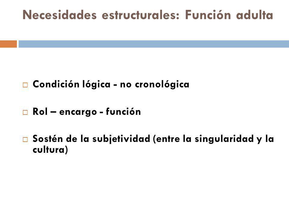 Necesidades estructurales: Función adulta