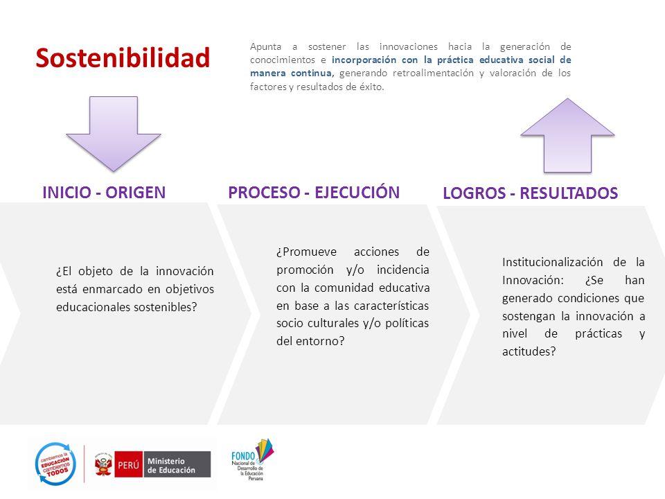Sostenibilidad INICIO - ORIGEN PROCESO - EJECUCIÓN LOGROS - RESULTADOS