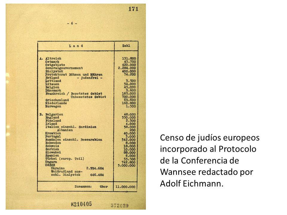Censo de judíos europeos incorporado al Protocolo de la Conferencia de Wannsee redactado por Adolf Eichmann.