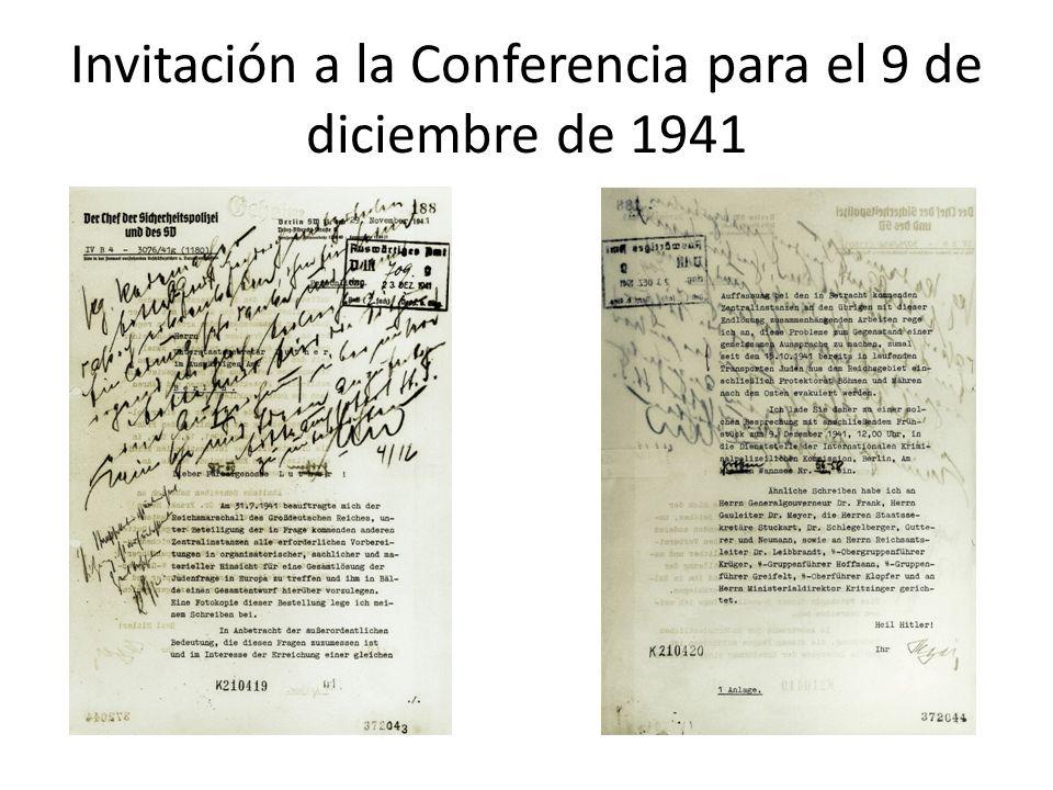 Invitación a la Conferencia para el 9 de diciembre de 1941
