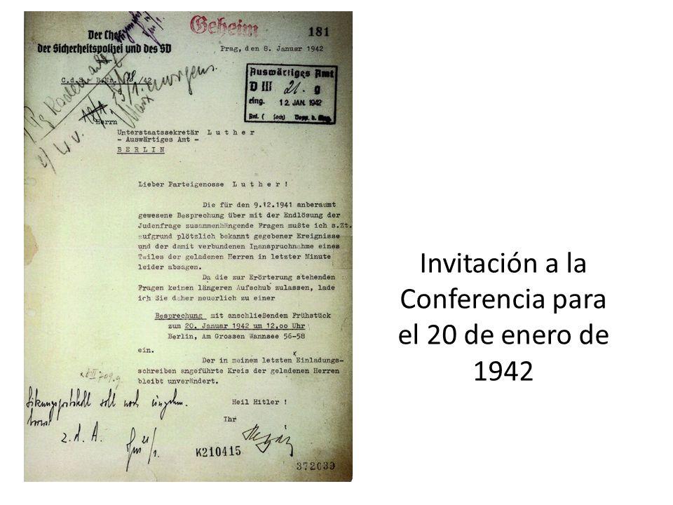 Invitación a la Conferencia para el 20 de enero de 1942