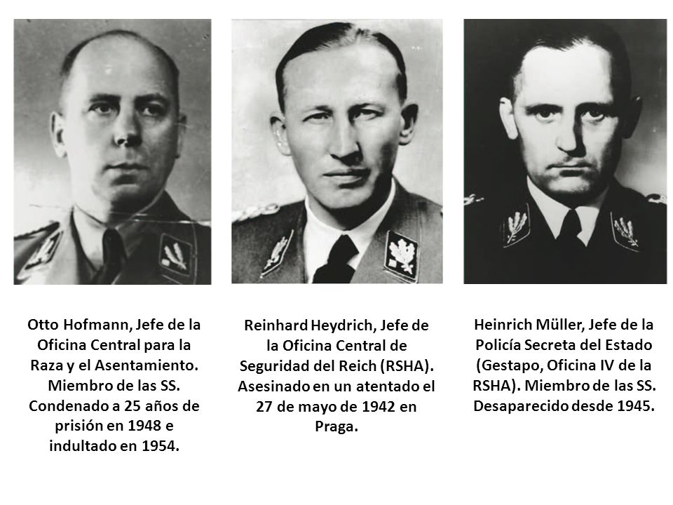 Otto Hofmann, Jefe de la Oficina Central para la Raza y el Asentamiento. Miembro de las SS. Condenado a 25 años de prisión en 1948 e indultado en 1954.