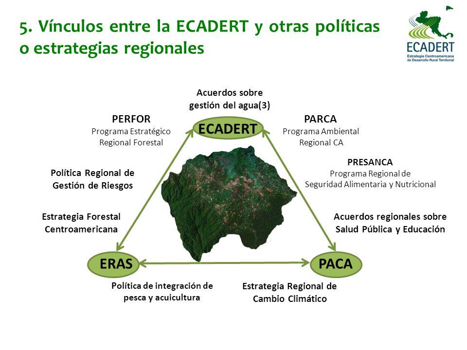 5. Vínculos entre la ECADERT y otras políticas o estrategias regionales