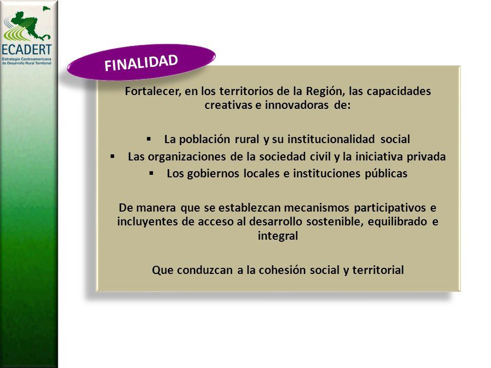 FINALIDAD Fortalecer, en los territorios de la Región, las capacidades creativas e innovadoras de: La población rural y su institucionalidad social.