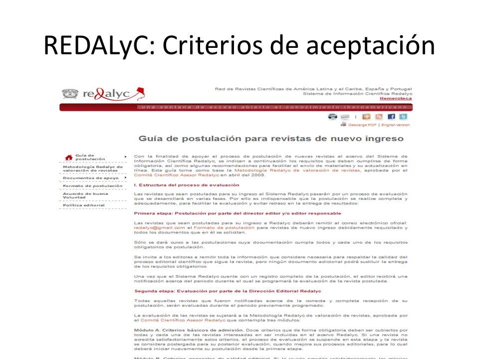 REDALyC: Criterios de aceptación