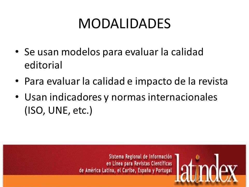 MODALIDADES Se usan modelos para evaluar la calidad editorial