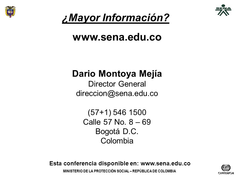 Esta conferencia disponible en: www.sena.edu.co