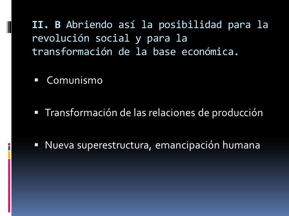 II. B Abriendo así la posibilidad para la revolución social y para la transformación de la base económica.