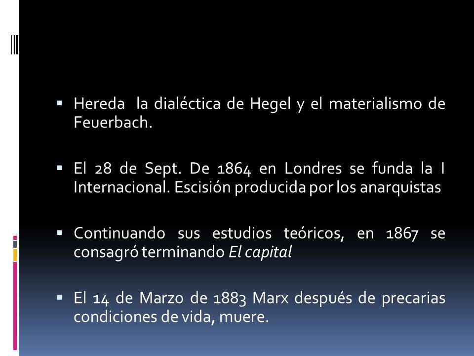Hereda la dialéctica de Hegel y el materialismo de Feuerbach.