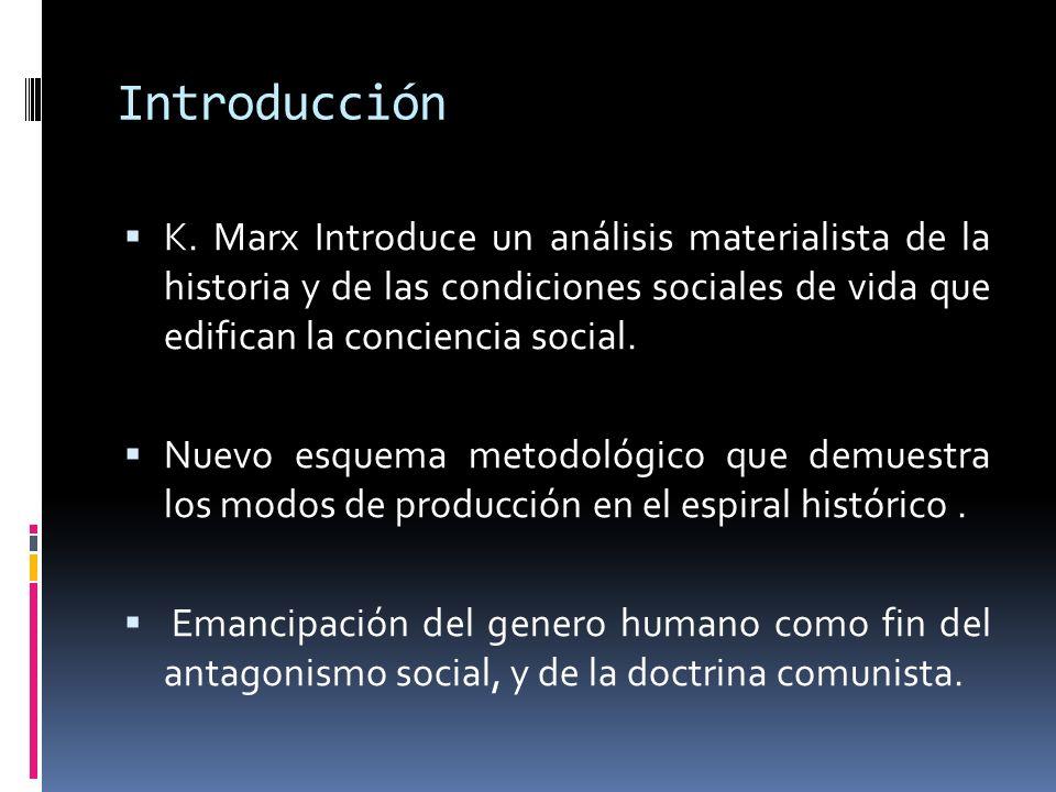 Introducción K. Marx Introduce un análisis materialista de la historia y de las condiciones sociales de vida que edifican la conciencia social.