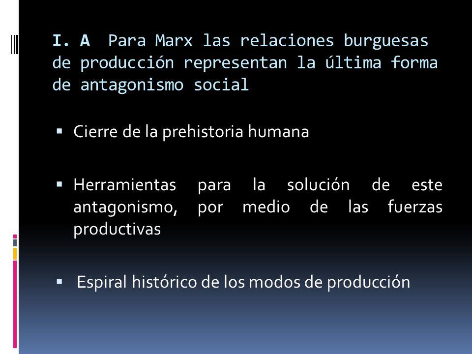 I. A Para Marx las relaciones burguesas de producción representan la última forma de antagonismo social