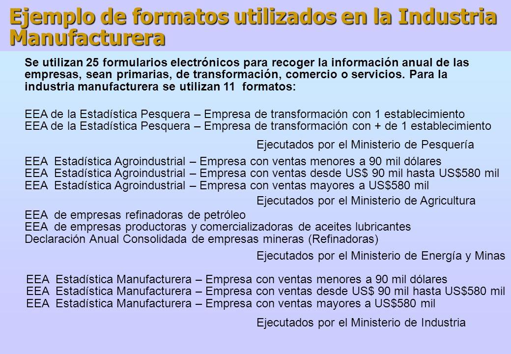 Ejemplo de formatos utilizados en la Industria Manufacturera