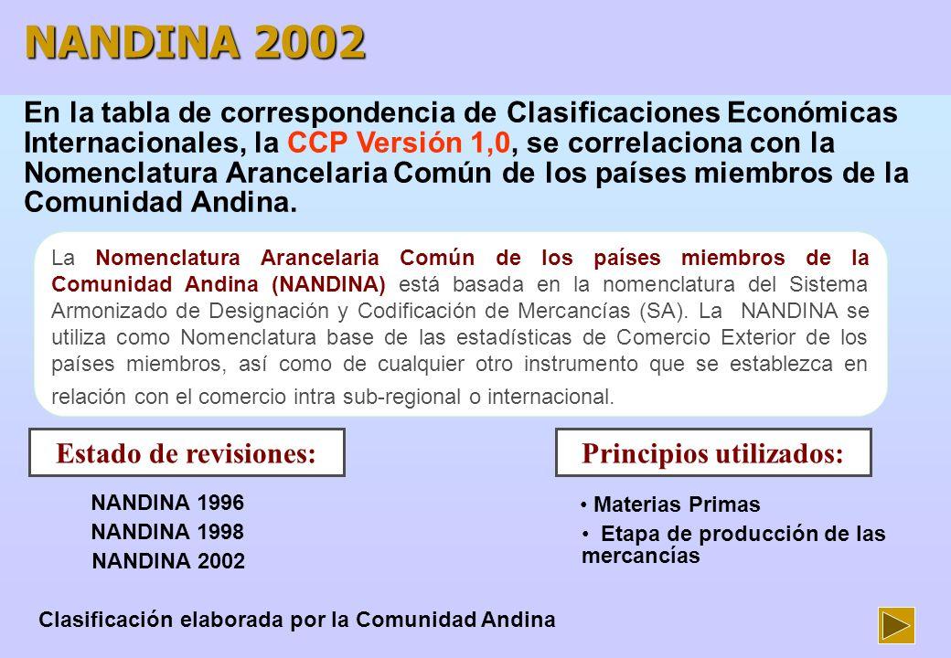 Principios utilizados: Clasificación elaborada por la Comunidad Andina