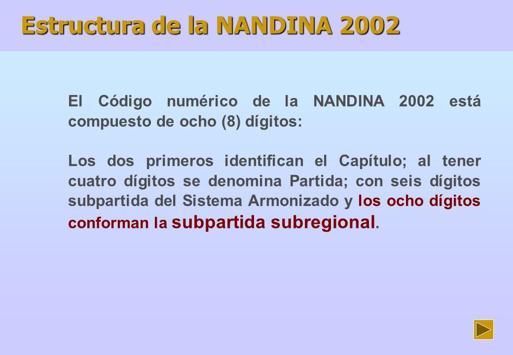 Estructura de la NANDINA 2002