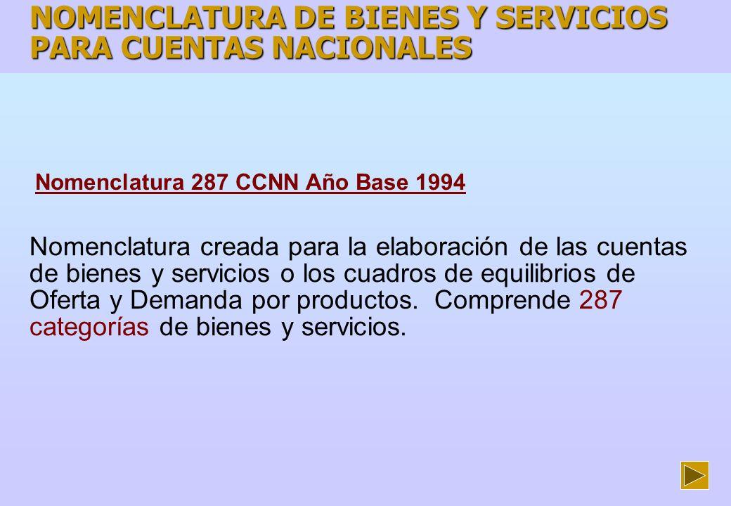 NOMENCLATURA DE BIENES Y SERVICIOS PARA CUENTAS NACIONALES