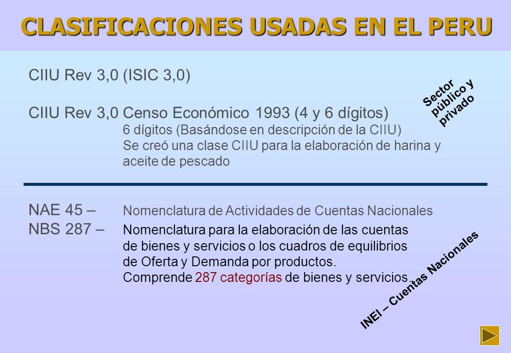 CLASIFICACIONES USADAS EN EL PERU