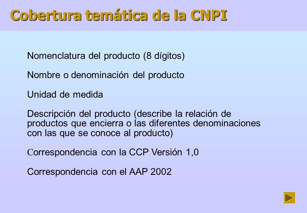 Cobertura temática de la CNPI