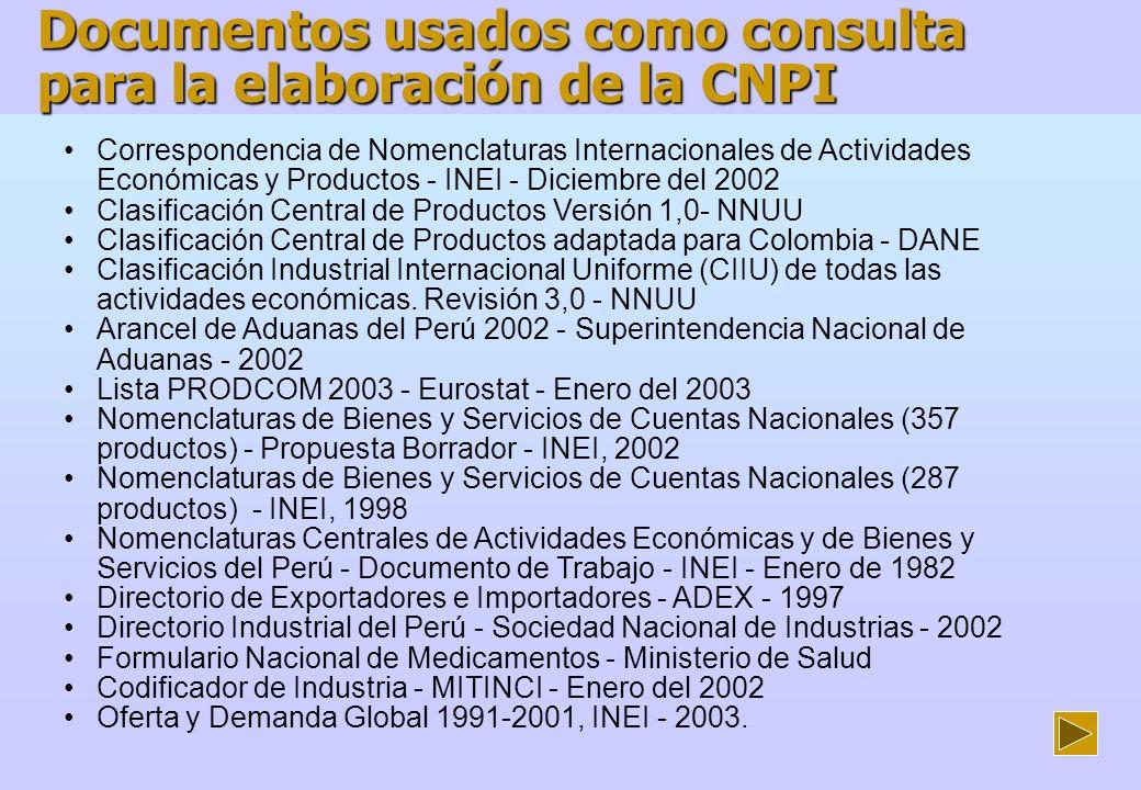 Documentos usados como consulta para la elaboración de la CNPI