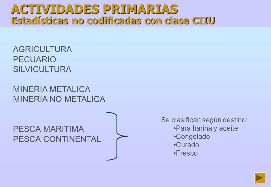 ACTIVIDADES PRIMARIAS Estadísticas no codificadas con clase CIIU