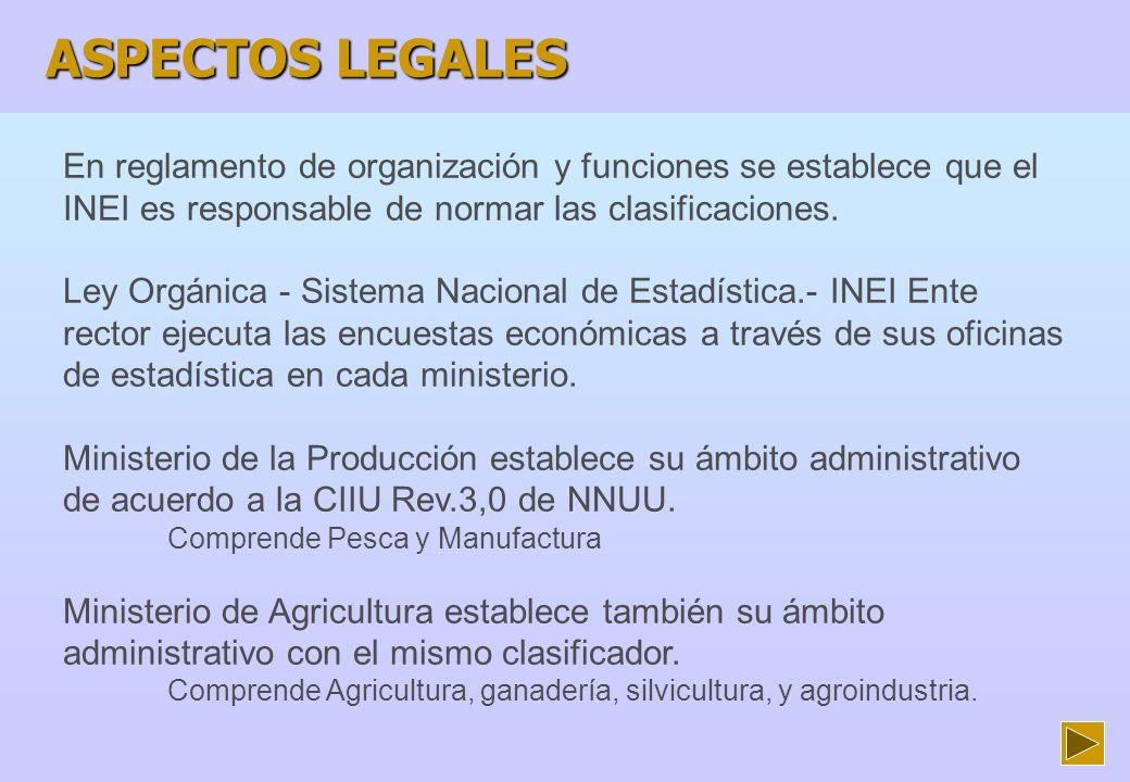 ASPECTOS LEGALES En reglamento de organización y funciones se establece que el INEI es responsable de normar las clasificaciones.