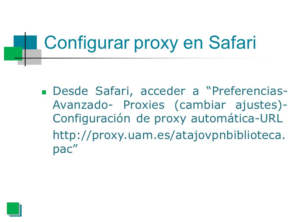 Configurar proxy en Safari