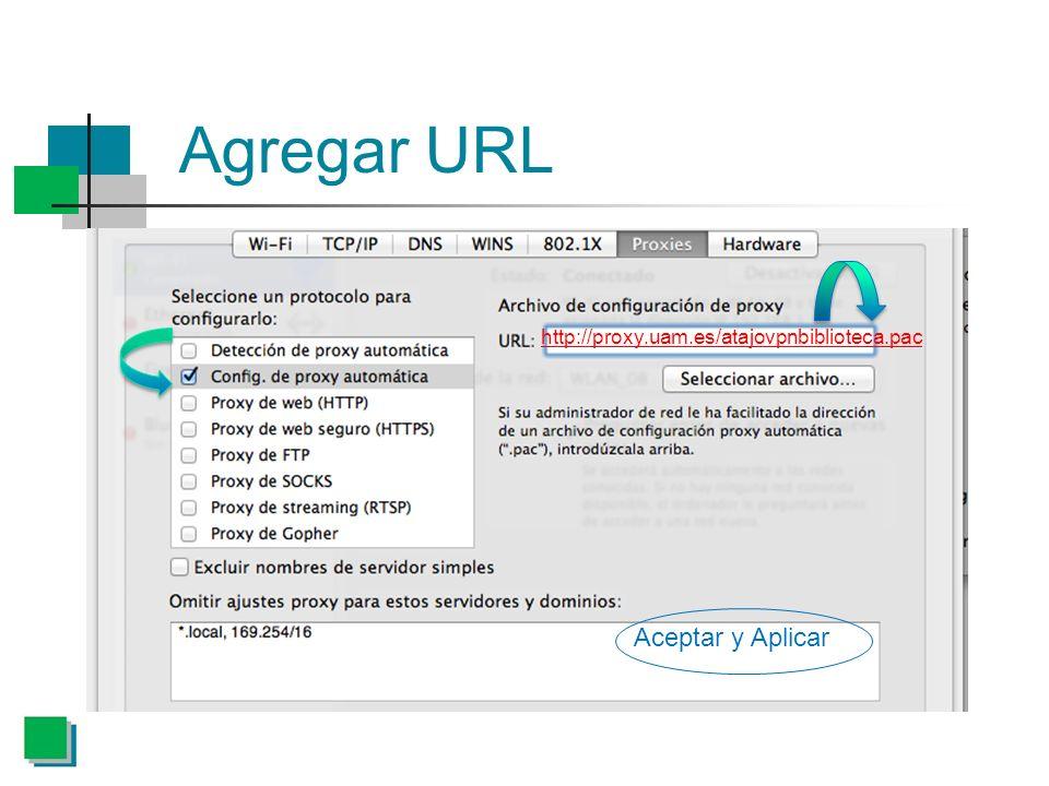 Agregar URL Aceptar y Aplicar