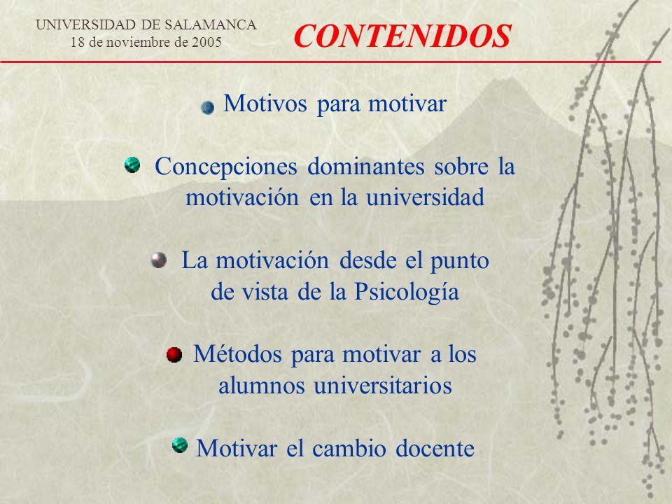 CONTENIDOS Motivos para motivar Concepciones dominantes sobre la