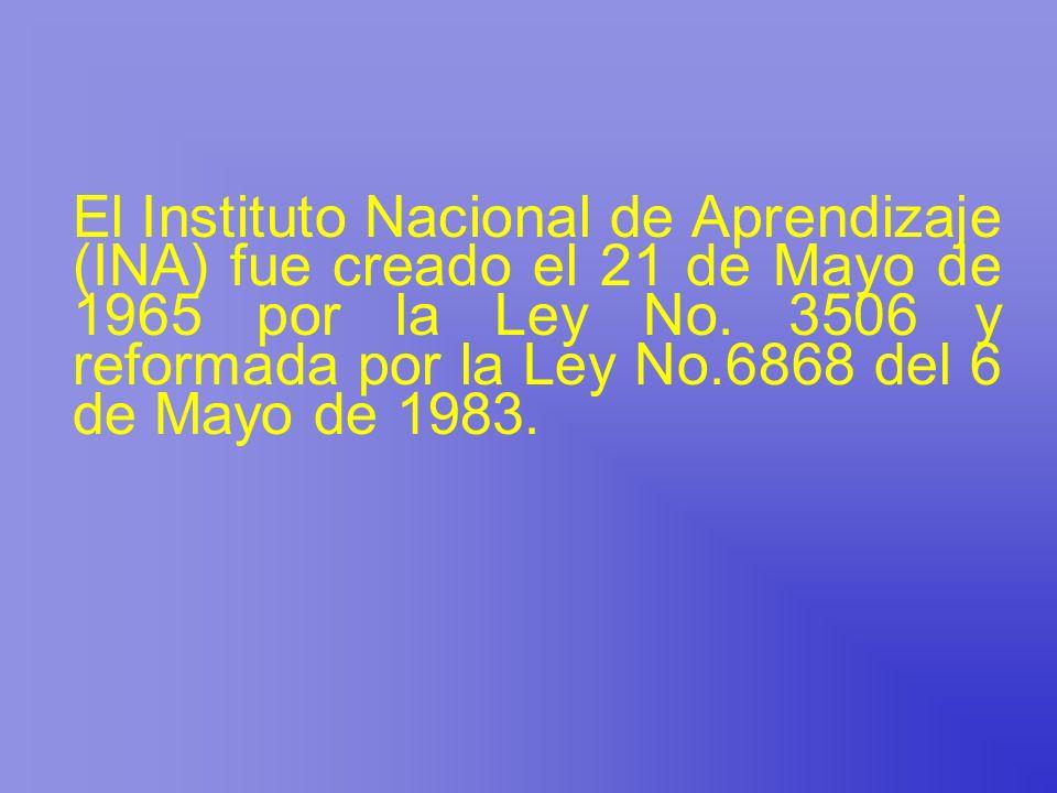 El Instituto Nacional de Aprendizaje (INA) fue creado el 21 de Mayo de 1965 por la Ley No.