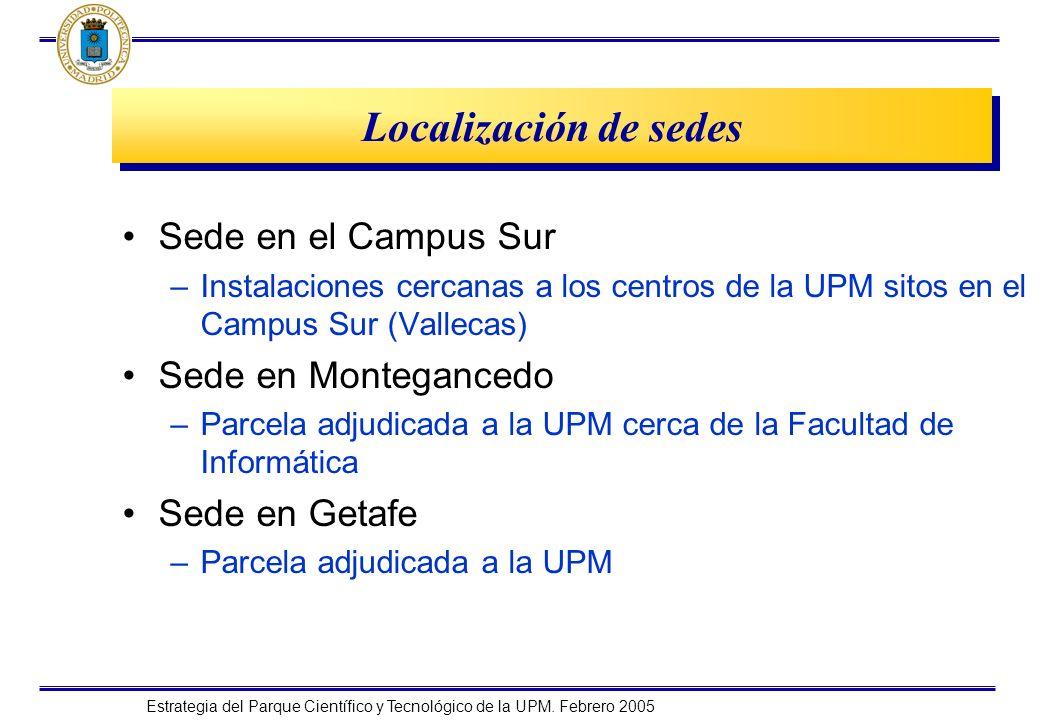 Localización de sedes Sede en el Campus Sur Sede en Montegancedo