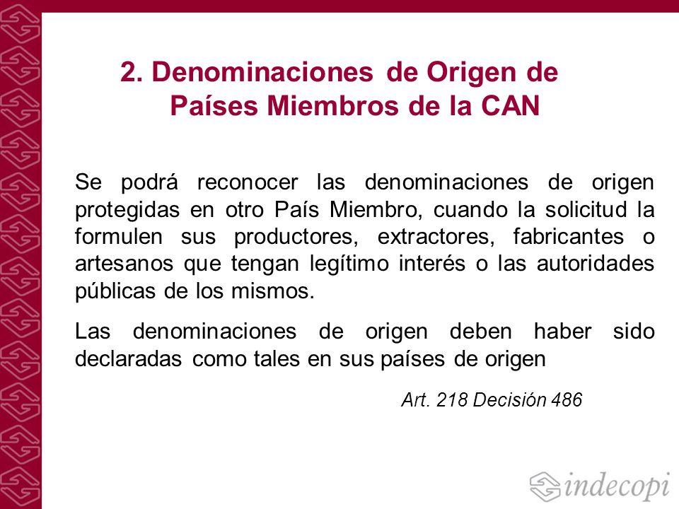 2. Denominaciones de Origen de Países Miembros de la CAN