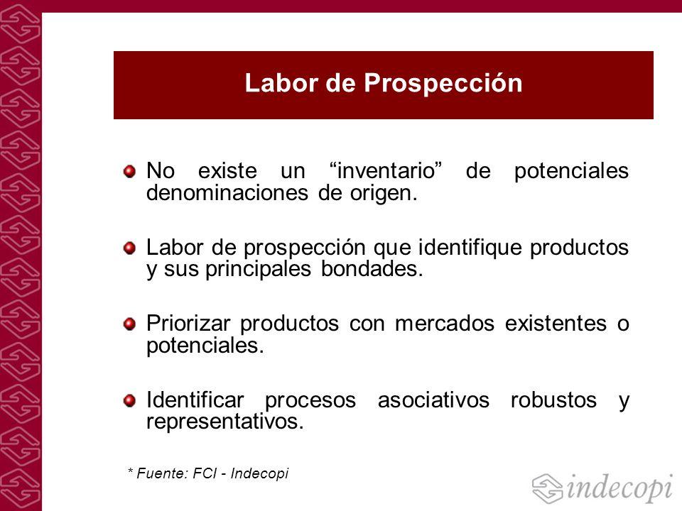 Labor de Prospección No existe un inventario de potenciales denominaciones de origen.