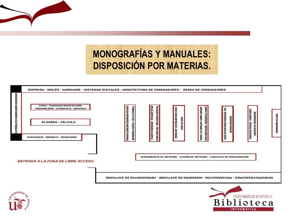 MONOGRAFÍAS Y MANUALES: DISPOSICIÓN POR MATERIAS.