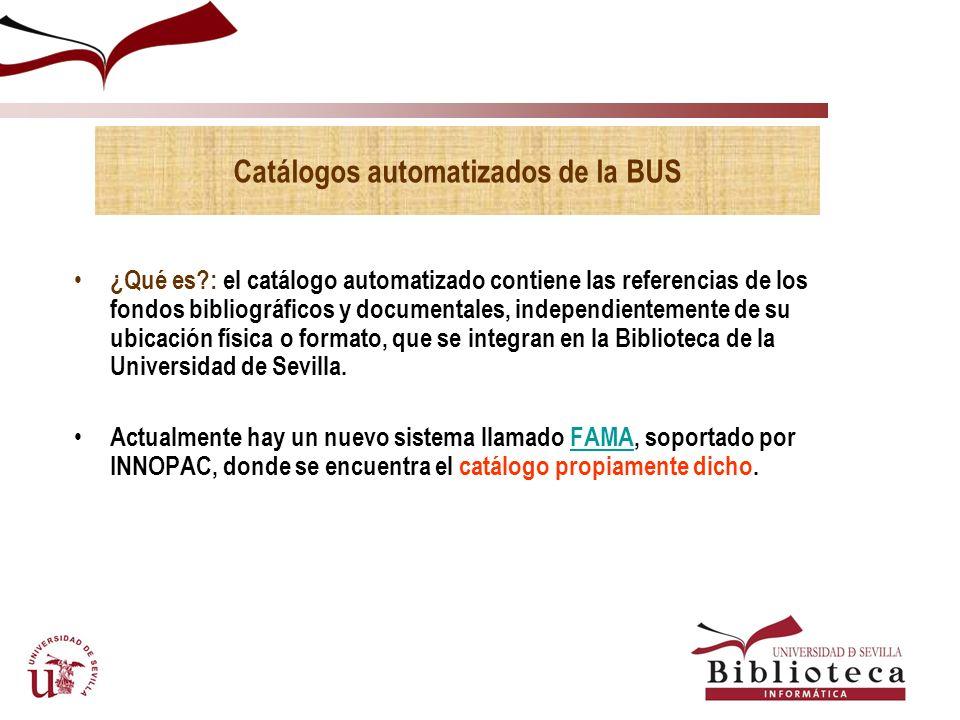 Catálogos automatizados de la BUS