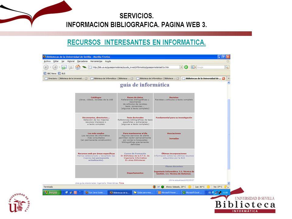 SERVICIOS. INFORMACION BIBLIOGRAFICA. PAGINA WEB 3