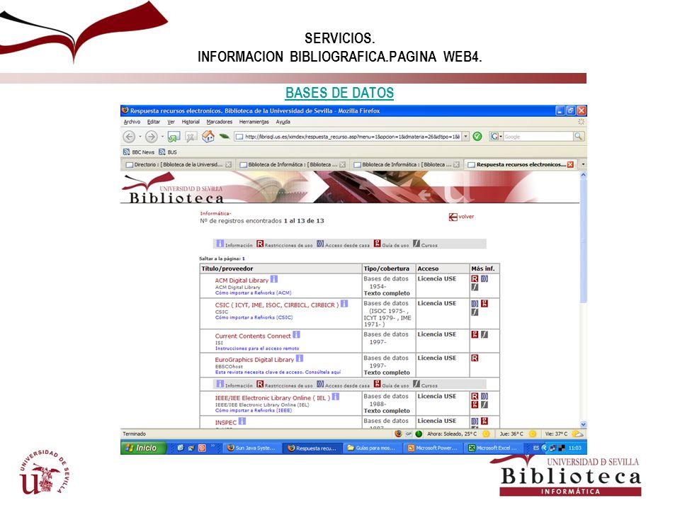 SERVICIOS. INFORMACION BIBLIOGRAFICA.PAGINA WEB4. BASES DE DATOS