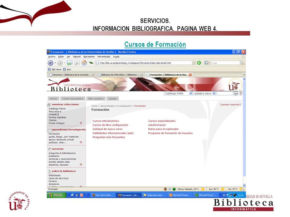 SERVICIOS. INFORMACION BIBLIOGRAFICA. PAGINA WEB 4. Cursos de Formación